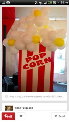 Definitely have to do this balloon popcorn carnival party