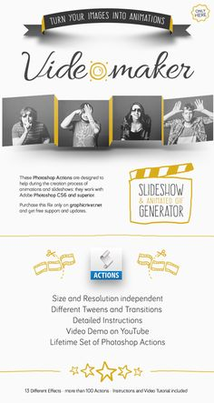 Video Maker #Photoshop #Actions - Animated Slideshow Gallery Gif Generator - Actions Photoshop