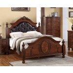 POUNDEX Furniture - Brown Faux Leather Queen Bed - F9142Q  SPECIAL PRICE: $539.00