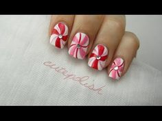 Peppermint Swirl Nail Art  AMAZING don't know if I will be able to recreate, but will try