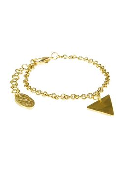 Hand made brass triangle bracelet. Crafted entirely by hand, lobster clasp fastening. Diameter 5cm (adjustable).