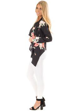 Black Floral Print Drape Cardigan front closeup Drape Cardigan, Cute Boutiques, Awards, Floral Prints, Black, Tops, Women, Floral Patterns, Black People