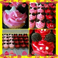 Mickey and Minnie Themed Cupcakes (Strawberry & Chocolate cake)