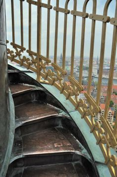 Copenhagen - the exterior stairs on the tower of Vor Frelsers Kirke (Our Savior's Church) | Exploration Vacation