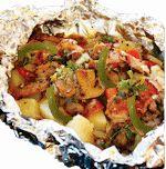 Adult Hobo Hamburger Tin Foil Dinner - ground chuck - red onions - red potatoes - petite whole green beans - seasoned diced tomatoes - mushrooms - butter - Monterrey Steak Seasoning
