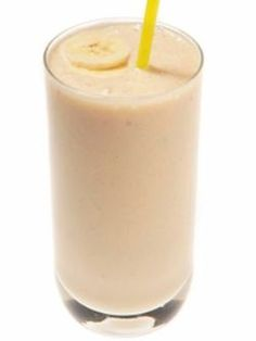 Lowfat Peanut Butter Banana Smoothie: 4 ice cubes, 1 banana, 1/2 cup almond milk, 2 tbsp PB2 (powdered peanut butter), and 1 tsp honey. Blend until smooth. Only 195 calories, over half of which come from the banana.