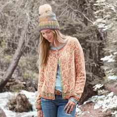 """CURRY LEAF CARDIGAN--Embroidered accents complement a dancing, paisley pattern in our jacquard cotton cardigan. Ribbon placket with shell buttons and striped elbow patches. Cotton/acrylic/nylon/wool/alpaca. Hand wash. Imported. Exclusive. Sizes XS (2), S (4 to 6), M (8 to 10), L (12 to 14), XL (16). Approx. 22""""L."""