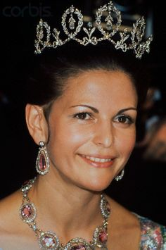 The Connaught Tiara; worn by Queen Silvia of Sweden in 1977.
