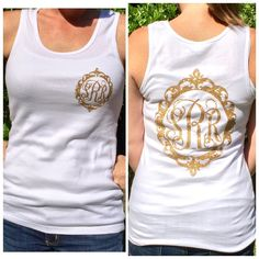 Monogrammed Tank Top - Personalized bridesmaid gift, Monogrammed tank tops by PoshPrincessBows1 on Etsy