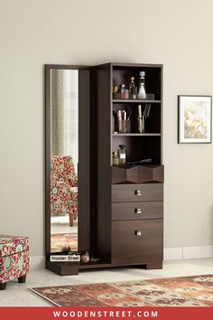 Got a new dress or wish to see how it looks on you? No worries. The full-size mirror of Cinader dressing table will give you a complete image of yourself. This unit also has additional drawers and compartments to keep your beauty essentials. Cinader dressing unit is crafted from solid hardwood such as Sheesham which imparts durability. Wardrobe Design Bedroom, Bedroom Furniture Design, Wardrobe Room, Home Decor Furniture, Home Decor Bedroom, Deco Furniture, Modern Dressing Table Designs, Dressing Room Design, Furniture Dressing Table