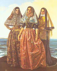 Mallorca, Menorca, and Eivissa, in folk costumes of Balearic islands kept in Museu Krekovic, Palma de Mallorca. Spanish Islands, Bride Of Christ, Balearic Islands, Wise Women, Folk Costume, Ethnic Fashion, Traditional Dresses, Ibiza, Croatia