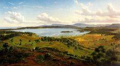 """""""View of Lake Illawarra with Distant Mountains of Kiama"""" 1860   Eugene Von Guerard"""