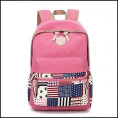 Leisure Flag Patchwork School Canvas Backpacks #bag #Backpack #school Lace Backpack, Striped Backpack, Floral Backpack, Shoulder Backpack, Fashion Backpack, Fashion Bags, Leather Backpack, Retro Backpack, Colorful Backpacks