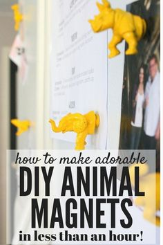 Here's a quick and easy tutorial on how to make these absolutely adorable DIY animal magnets. All you need is some little plastic animal toys, some small magnets, and spray paint!