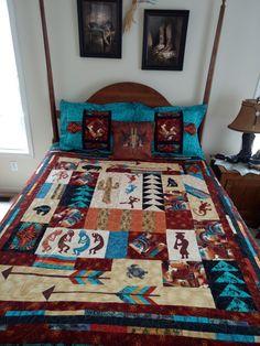 Southwestern Kokopelli Handmade Santa Fe LARGE King Patch Bed Quilt Blanket