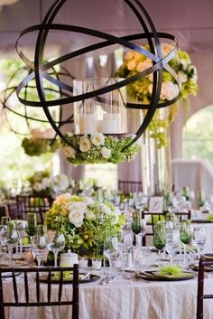 Wedding centerpiece and theme/ setting ideas. Really like the overall look of this. Bright and happy