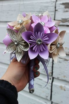 Tea dyed Kusudama Flower Bouquet  Your choice by MyWoollyMammoth