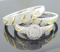 Trio Set 10K White Gold 2.00 Ct  His And Her Two Tone Engagement Wedding Rings #aonedesigns