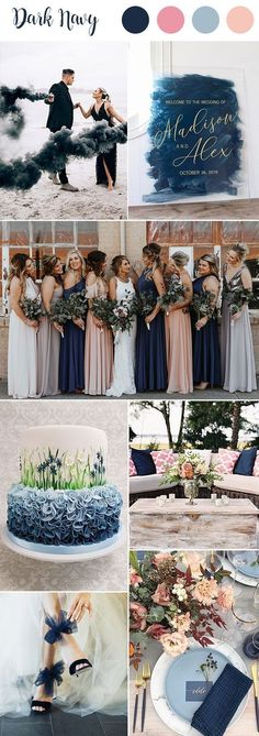 9 Most Popular Blue Wedding Color Palettes for Your Big Day Dark Navy wedding color palette! Very moody<br> What's your ceremony and reception color palette? As we know wedding color trends are const. Wedding Color Combinations, Wedding Color Schemes, Colour Schemes, Color Trends, Color Palette For Wedding, Earth Tone Wedding, Winter Wedding Colors, Summer Wedding Themes, Popular Wedding Colors