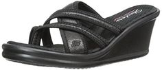 Skechers Cali Womens RumblersHapy Dayz Flip Flop Black 9 M US >>> Check out this great product.
