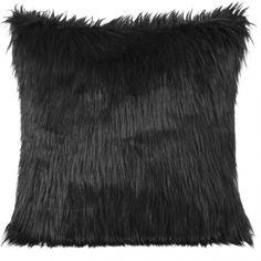 Dekoračná chlpatá obliečka čiernej farby