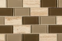 BuildDirect – Mosaic Tile - Glass Stone Blends – Pine Valley Subway - Close View