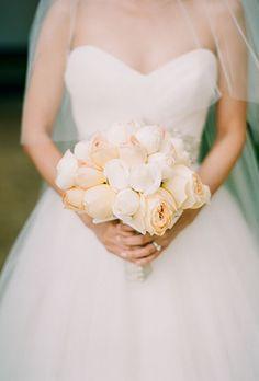 Brides.com: 15 Pretty Peach Bouquets. Peach bouquet of garden roses and gardenias from Kristine Shin Designs.