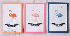 Pop of Paradise from Stampin' Up Watercolour Flamingo Trio Tracy May #PP295