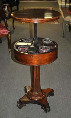 English Regency Rosewood Rising Top Teapoy Tea Caddy c. 1820 | Olde Mobile Antiques Gallery – Mobile, AL