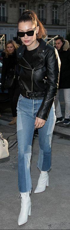 Bella Hadid' in Sunglasses – Celine  Jacket – Alexander Wang  Jeans RE/done  Shoes – Stuart Weitzman