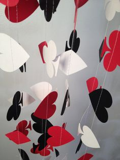 DECK OF CARDS Spades, Hearts, Diamonds, Clubs Red, Black 10 ft Paper Garland- Party Decorations, Birthday, Wedding, Bridal Shower