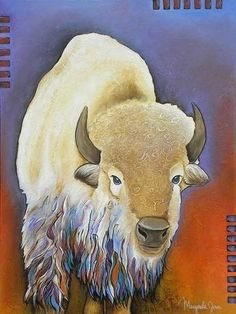"Native American artist Micqaela Jones original art -- is she fabulous or what? This one is called ""White Buffalo"". Native American Artwork, Native American Artists, American Indian Art, American Women, American Indians, American History, Buffalo S, Buffalo Painting, Southwest Art"