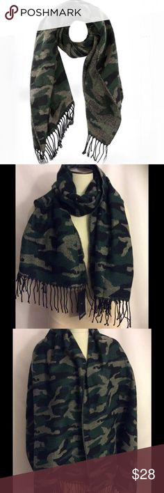 """NWT Camoflauge Large Warm and Soft Scarf Unisex NWT Camouflage Large Warm and Soft Scarf  the tags says Men but I love anything camouflage and it is big enough to wear as a Shawl . Made in China of acrylic just like those famous blanket scarves. It is 72"""" x 28"""" without the fringe and brand new with tags. It is black, green and tan. Shiraleah Accessories Scarves"""