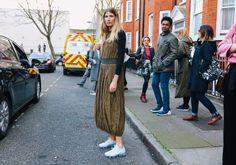 Veronika Heilbrunner in a J.W.Anderson dress and Nike #London  #StreetStyle  #Koshchenetsshoes