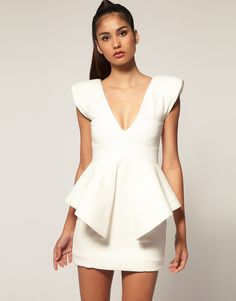 Aqua Claudia Structured Peplum Mini Dress