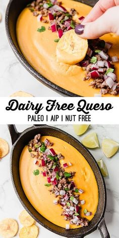 Dairy Free Queso (Paleo, AIP, Nut Free) - Unbound Wellness- skip pepper for elimination phase AIP Dairy Free Queso, Dairy Free Bread, Dairy Free Snacks, Dairy Free Breakfasts, Dairy Free Diet, Dairy Free Dinners, Dairy Free Soup, Dairy Free Cheese, Free Paleo Recipes