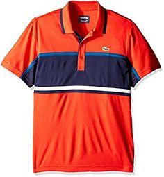 4a186cd94 Lacoste Men s Tennis Sport Short Sleeve Ultradry Chest Stripe T-Shirt