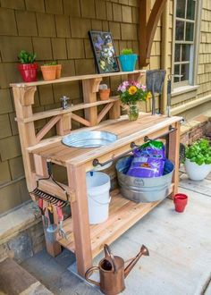 How to Make a Gardener's Potting Bench Learn how to build a custom work table for your gardening and outdoor chores. We outfitted this bench with a dry sink, tool storage and plenty of shelving. Potting Bench Plans, Potting Tables, Outdoor Potting Bench, Potting Sheds, Outdoor Plant Table, Potting Bench With Sink, Garden Bench Plans, Planter Table, Potting Soil