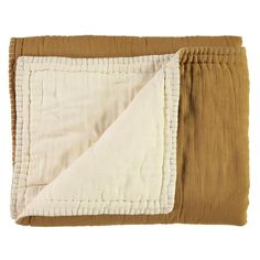 Cotton Filled Reversible Quilt, Ochre and Stone by Camomile London - Maude Kids Decor Muslin Blankets, Soft Blankets, Quilt Bedding, Linen Bedding, Double Quilt, Small Cross Stitch, Embroidered Quilts, Stylish Beds, Baby Kind