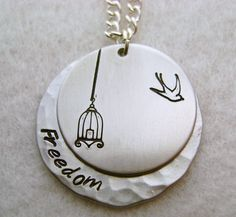 Metal Stamped Birdcage Bird Freedom Necklace Create a small story with design stamps like this.