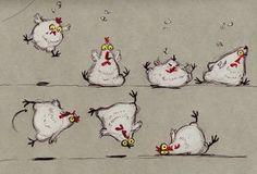 ARM - GALLINITAS. Técnica : Patchwork, pintura, bordado/// Santiago Verdugo #sketchbook #hen #animation