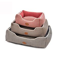 Elite Stripe Square Pet Bed with anti-wear Linen Fabric Removable Mat for Dogs and Cats * Check this awesome product by going to the link at the image. (This is an affiliate link) #CatBedsandFurniture
