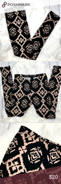 NWOT Aztec Print Leggings Soft black and pale pink aztec print leggings. Excellent condition, never worn. Size large, but stretch fit can fit medium well also. 95% polyester, 5% spandex. Pants Leggings