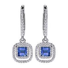 Princess Cut Simulated Blue Sapphire With Natural Diamond Double Halo Drop Earrings In Solid White Gold Ct) By Jewel Zone US Natural Diamonds, Round Diamonds, Princess Cut Diamonds, Diamond Studs, Blue Sapphire, Halo, White Gold, Drop Earrings, Jewels