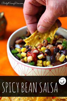Spicy Bean Salsa Recipe #salsa #glutenfree #recipe #budgetsavvydiva via budgetsavvydiva.com