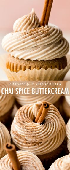 Prepared with chai tea, chai spices, and whipped chai buttercream, these chai latte cupcakes taste exactly like your favorite coffeehouse drink! Buttercream Recipe, Frosting Recipes, Cupcake Recipes, Baking Recipes, Cupcake Cakes, Dessert Recipes, Chai Cupcake Recipe, Buttercream Cupcakes, No Bake Desserts