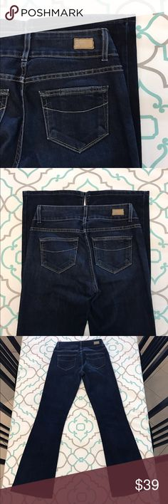 """Gorgeous Paige Jeans26 1/2 31"""" Dark Wash!! Gorgeous Paige Jeans Size 26 (1/2). 8.75"""" Rise. 13.75"""" Across Back. Great Stretch. Beautiful Dark Blue Wash. Very Light Fading from wash & wear. Hidden Hill Fit. Excellent Used Condition. Beautiful! Love! Paige! Anthropologie! Ask me any questions! : ) Paige Jeans Jeans Boot Cut"""