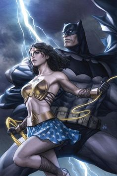 Artfully Kal (The Art Of Superman And DC Comics) — Wonder Woman and Batman by Stanley Lau. Frank Miller, Batman Wonder Woman, Wonder Women, Batman Et Superman, Spiderman, Batman Art, Batman Robin, Dc Comics Art, Marvel Dc Comics