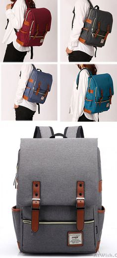28a35fbb82 Retro Large Travel Backpack Leisure Leather Canvas Backpack School Bag only   33.99 -AtWish.com