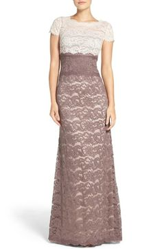 Adrianna Papell Colorblock Lace Gown available at #Nordstrom